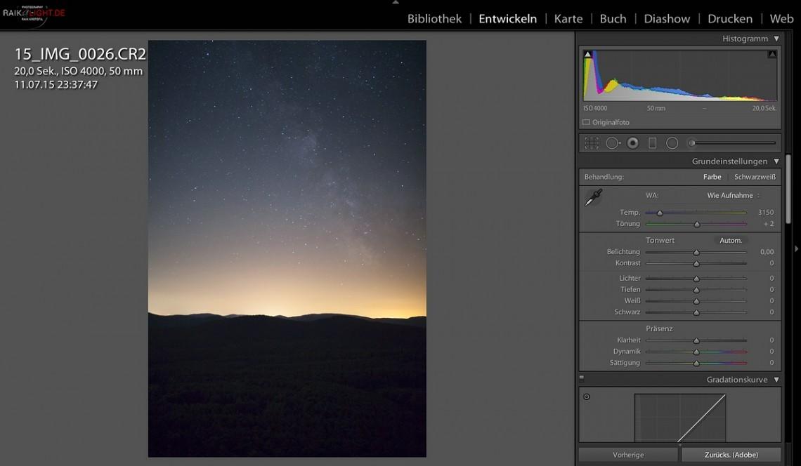 So kommt das Foto direkt aus der Kamera, ohne Korrekturen!