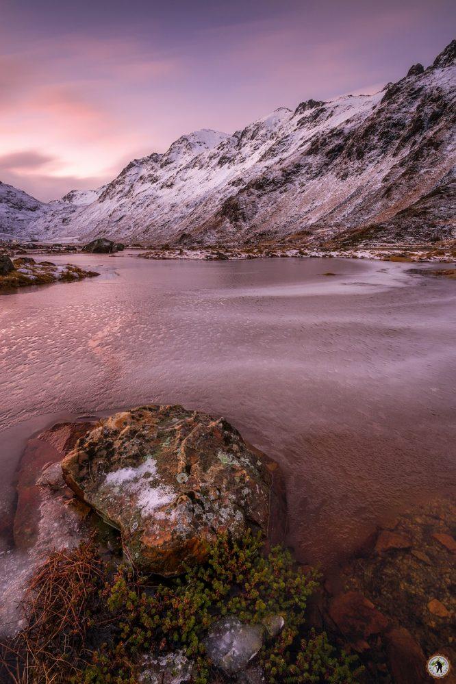 Rosa Fjord, Winter, Lofoten, Schnee, Januar, Eis, Polarlichter, beste Fotoreise