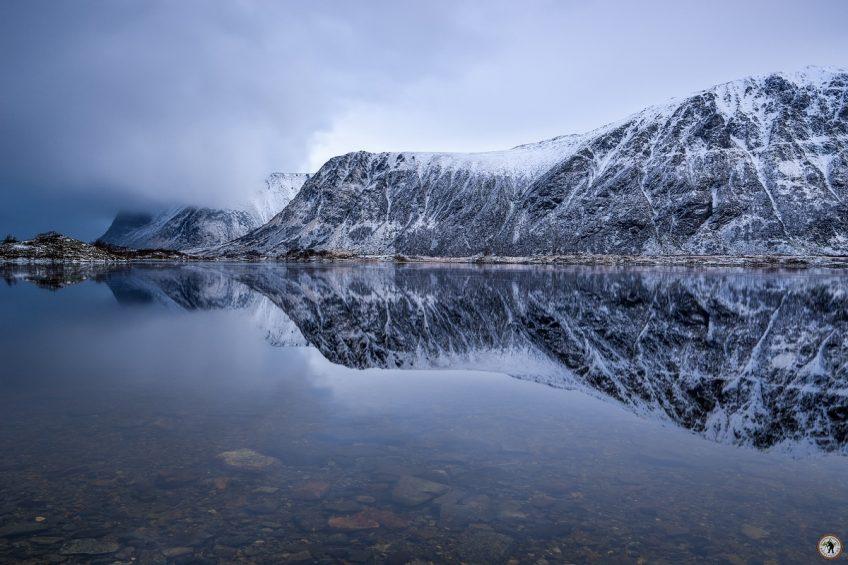 Mirror Lofoten Fjord, Spiegelung, Winter, Schnee, Fotoreise